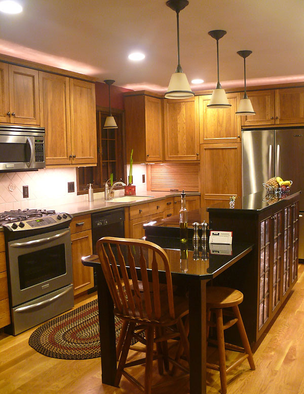 Hickory Kitchen with Painted Island